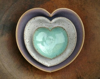 nesting heart bowl set - 5 inches - handmade pottery amethyst rustic white turquoise wedding gift ring holder