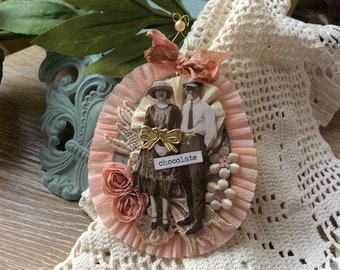 Victorian Ornament - Pink Ornament - Whimsical Ornament - Chocolate Lover Ornament