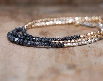 Raw Diamond Bracelet, Silver Bracelet, Gift for Her, Black Diamond, Silver Bracelet, Dainty Bracelet, April Birthstone Jewelry Birthday Gift