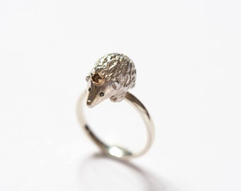 Hedgehog Ring, Silver Ring, Hedgehog, Ring, Gift for Her, Animal Ring, Nature Ring, Hedgehog Accessories, Gold Crown, Black Diamond