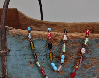 Vintage Colorful Strand Copper Wired Assorted Bead Necklace
