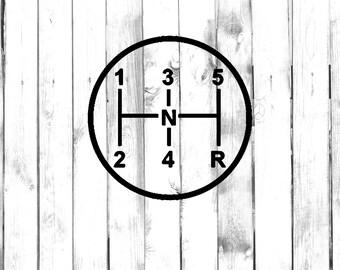 5 Speed Gear with Nuetral - Stick Shift - Manual Car Gear Diagram - Car/Truck/Laptop/Computer/Phone/Home Decor/Bumper Sticker - Vinyl Decal
