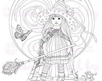 Adult Coloring Page, Fantasy Art, Digital Download, Coloring by Kristi