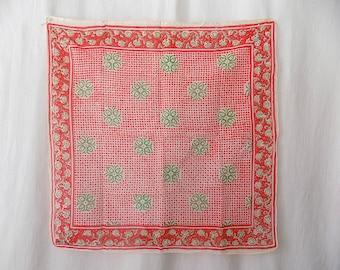 Indian Cotton Gauze Block Print/Handprinted Scarf 1970s
