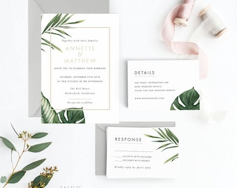 Tropical Wedding Invitation Suite, Wedding Invitation Printable, Invitation Set, Wedding Invitation Rustic, Letter or A4 (Item code: P347)