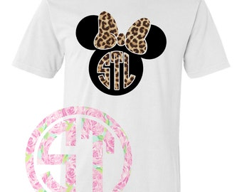 Mouse with bow Heat Transfer Leopard Short Sleeve T Shirt Comfort Color or Gildan or Comfort Color Tank