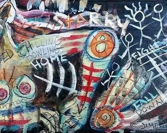 "Outsider Art Painting - Art Brut - Neo-Expression - Raw Art  ""MRS. ED"""