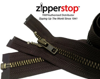 3 Inch to 36 Inch  Antique Brass Jacket Zipper YKK Number 7 Heavy Duty Metal Separating, Zippers wholesale (Options Length)