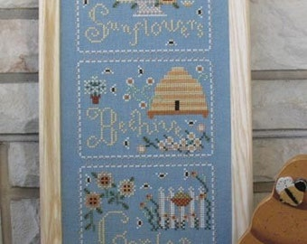 Cross Stitch Pattern Sunflowers Beehive White Picket Fence Country Scene Counted Cross Stitch FAAP