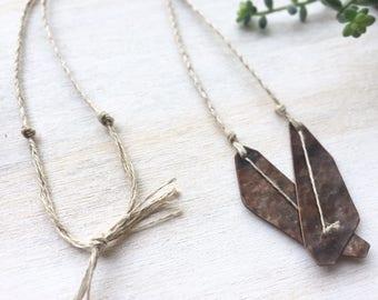 Strata III. Geometric Copper Necklace.