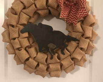 CPM Racehorse burlap wreath