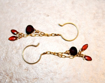 ANGELIC Garnet and Goldfill Earrings