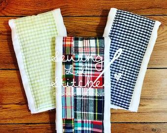 Madras Plaid Fabric Burp Cloths--- Set of 3