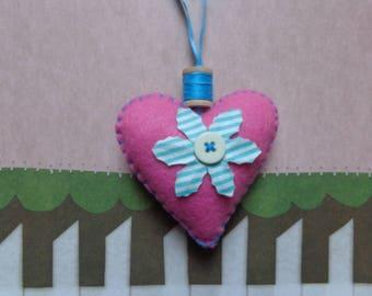 Pink Handmade Heart Ornament by Pepperland