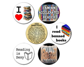 """6 Book-Lover Pins - For Librarians, Students and Book Readers  - 6 Small 1.25"""" Reading Pin Back Badges or Buttons"""