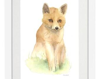 Little Fox - Giclée Watercolor Print