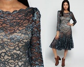 Sheer Lace Dress 80s MERMAID Midi Sheer Sleeve Scalloped 1980s Bodycon Party Shimmery Grunge Goth Boho Keyhole Vintage Gothic Small Medium