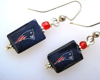 New England Patriots. Pro football. Fanwear. Petite Mother of Pearl Shell Earrings. Handmade.