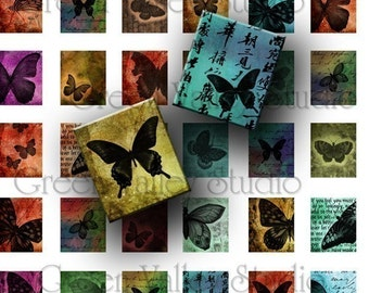 INSTANT DOWNLOAD Digital Art Butterfly Butterflies Digital Images Collage Sheet for Scrabble Tile Pendants Scrapbooking .75 x .875 (S16)