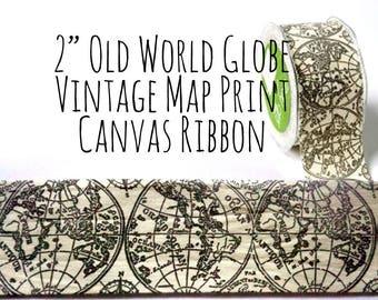 "2"" Vintage Old World Map Glope Print Canvas Ribbon, Black and Ivory, Vintage Ribbon, Sash, Bows, Gift Wrap, Wedding Supplies, Craft Supply"
