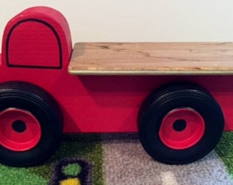Toy Red Flatbed Truck - Handcrafted Wooden Toy Flatbed Little Red Truck - Birthday party favor - Birthday Party Theme Truck - Red Flatbed
