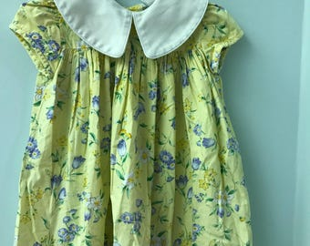 3T Yellow Floral Dress with White Collar