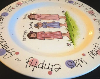 """Handpainted Platter for Grandparents - Granddaughters are a blessing. Mother's Day gift 12"""" Platter"""