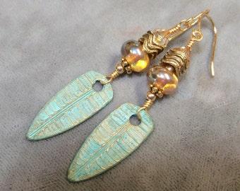 Bronze Leaf Charms and Lampwork Beaded Earrings-Artisan Lampwork Earrings-PMC Earrings-Tribal-Bohemian-Primitive Earrings-SRAJD