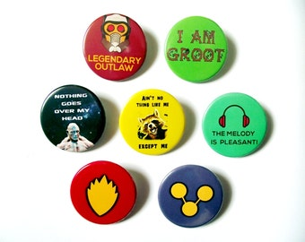 Guardians of The Galaxy - Pin Back BadgesFridge Magnets - Starlord, Groot, Rocket Racoon, Drax, Gamora