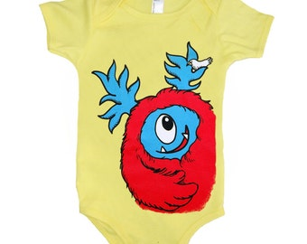 Baby Monster Onesie - Yellow with Red Monster size 12 month