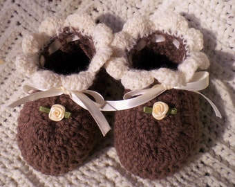Crocheted Baby Booties Infant Girl in Coffee&Ivory 3 - 9 mo
