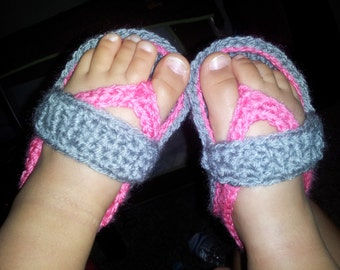 Crochet baby girl flipflop sandals, shoes, outfit, newborn, infant, baby shower gift, sizes 0-12m