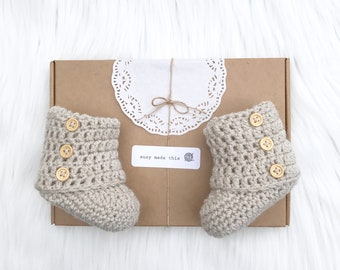 baby boy, baby girl, booties, baby shower, gender neutral, baby booties, photo prop, baby shower, newborn, beige booties,  baby shoes,