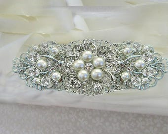 wedding dress sash, bridal belt , wedding sash, pearl wedding belt, Pearl bridal sash, silver crystal pearl, Pearl wedding sash belt