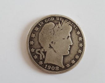 Antique 1908-O Barber Silver half dollar in average/good condition. US Coinage