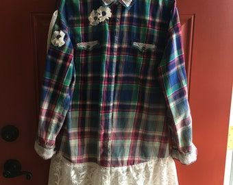 Up cycled Repurposed Plaid Flannel Tunic