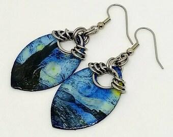 Van Gogh Starry Night Earrings - Boho Earrings - Chainmaille Earrings - Drop Earrings - Statement Jewelry - Scale Maille - Gift for Her