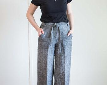 Sophie Linen Culottes, Linen Pants, Wide Leg, Pockets, Belt, Custom, High-Waisted Pants, 3/4 Length Pants, Womens Clothing
