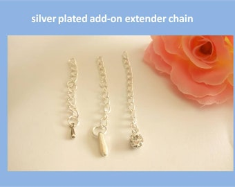 Add-On Silver Plated Necklace Extender Chain with Charm, Necklace Extension, Silver Extender, Necklace Extender, Extension for Necklace