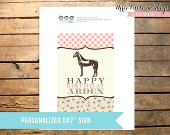 """Vintage Pony Party Personalized 5x7"""" Sign"""