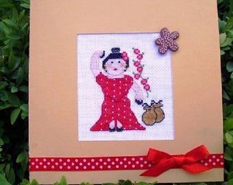 Hand embroidered card: Spanish flamenco dancer