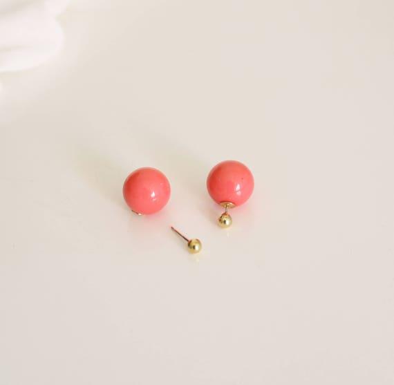 Earrings ball front back, pink earrings, dangle earrings, Stud Earrings