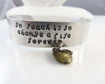 Hand stamped teacher cuff bracelet