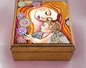 Mother and child painting, mother box, treasure box, nursery art, Madonna and child, christian box, jewelry box, 3.5x3.5+