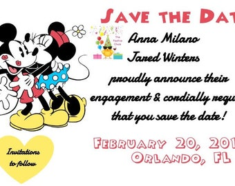 Disney Save the Dates, Mickey & Minnie, Disney Weddings, bride to be, engaged, Save the Date cards, printables, love, Disney Wedding