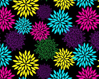 Midnight Blooms Bamboo Spandex Knit - Neon Fabric, Retro Fabric, Jersey Knit Fabric, Bamboo Fabric, Bamboo Knit, Bamboo Spandex Fabric