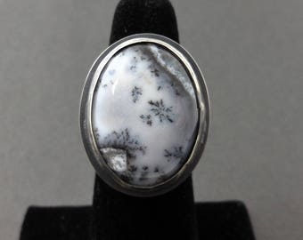 Sterling silver ring with dendrite opal stone