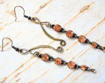 Long Peach Rhinestone Dangle Earrings (3155)