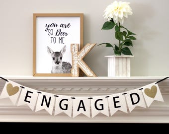 engagement party decorations - gold engagement banner - engagement banner - Engaged