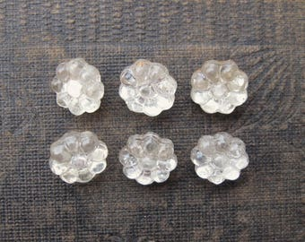 Vintage Mirrored Glass Flower Buttons 10mm Shank Backs (6)